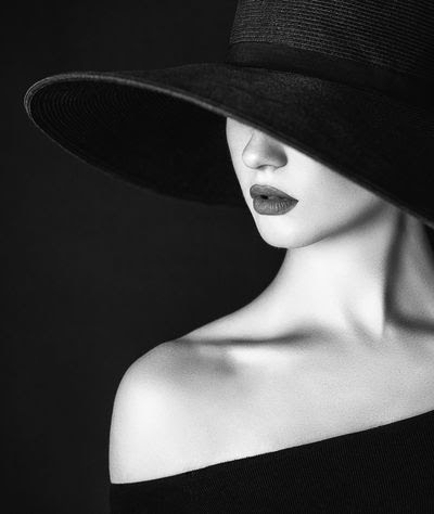 Image result for glamorous woman black and white hat