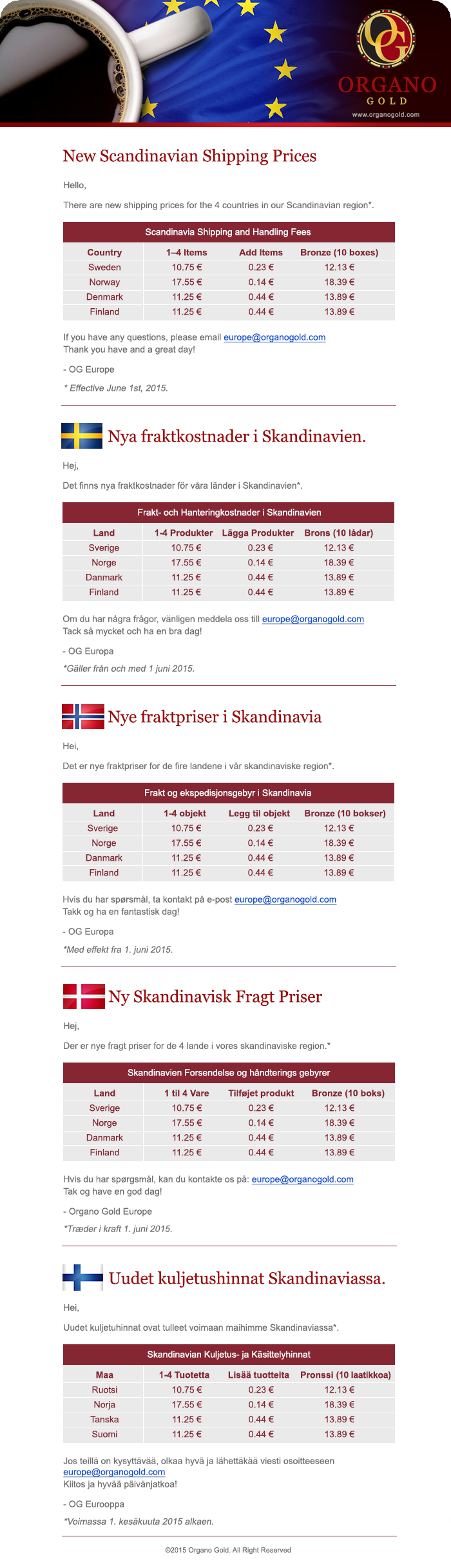 New Scandinavian Shipping Prices