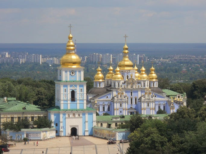 The                                                           golden domes                                                           of St.                                                           Michaels                                                           Cathedral                                                           sparkle in the                                                           skyline of                                                           Kiev, Ukraine.                                                           The church,                                                           built in the                                                             Ukrainian                                                           baroque style,                                                           is famous for                                                           its interior                                                           mosaics and                                                           frescoes.