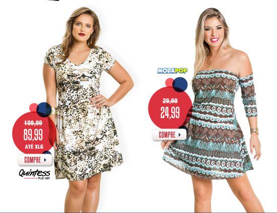 Vestidos nota 10 | Frete único R$ 10 - Quintess Plus Size - Moda Pop