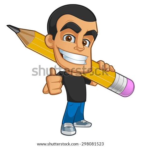 Sympathetic illustrator or cartoonist, has a pencil drawing