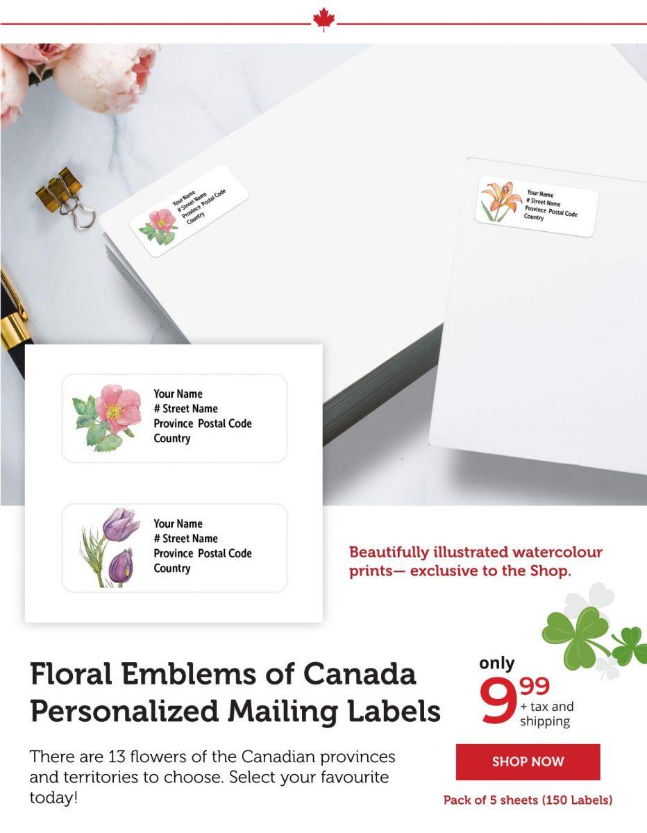 Floral Emblems - Mailing Labels