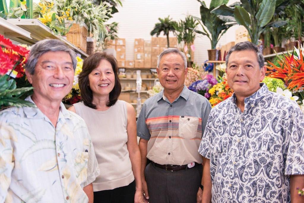 Left to right: Wayne Kamitaki, Lynn Ushijima, Hall of Fame Paul Mizoguchi and Guy Kamitaki.   Photo: courtesy of Maui Varieties LTD.