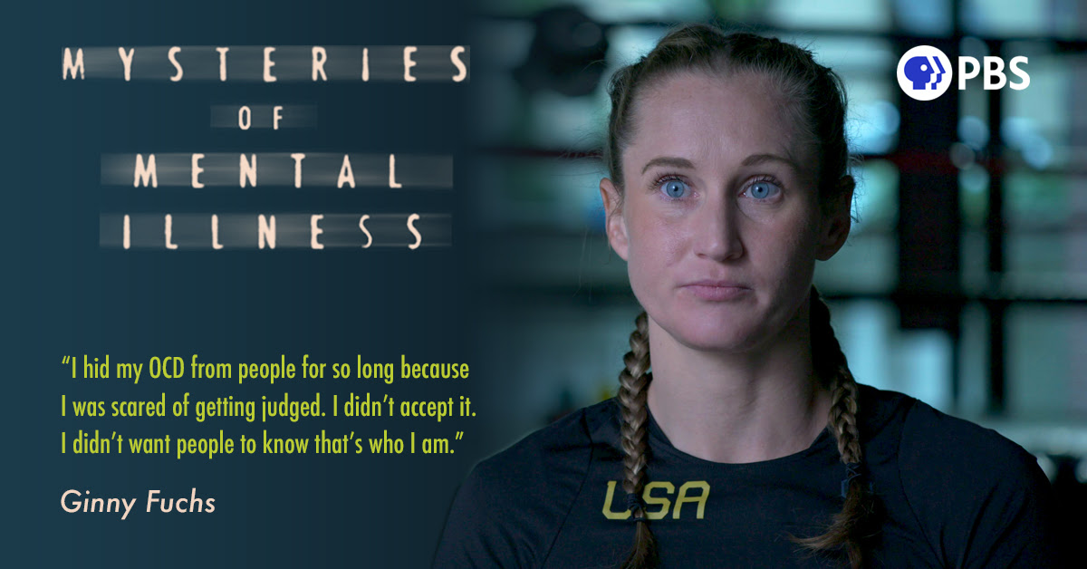 """Olympic Boxer Ginny Fuchs is a young white woman with light hair in braids. She is quoted saying, """"I hid my OCD from people for so long because I was scared of getting judged. I didn't accept it. I didn't want people to know that's who I am."""" Click here for MYSTERIES OF MENTAL ILLNESS."""