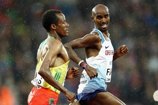 Mo Farah and Muktar Edris in the 5000m heats at the IAAF World Championships London 2017 (Getty Images)