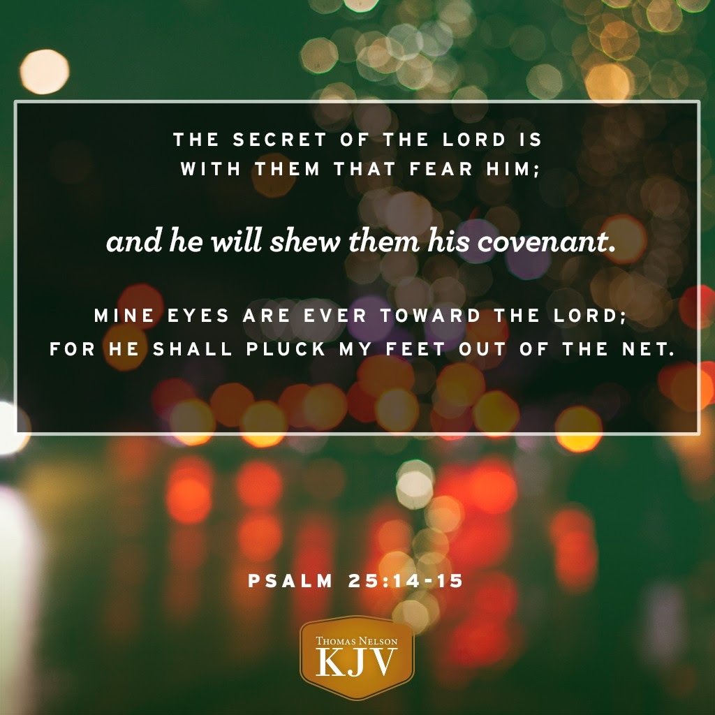 14 The secret of the Lord is with them that fear him; and he will shew them his covenant. 15 Mine eyes are ever toward the Lord; for he shall pluck my feet out of the net. Psalm 25:14-15