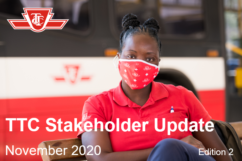 TTC Stakeholder Update November 2020 Edition 2 A TTC employee sits on a bench in front of a bus