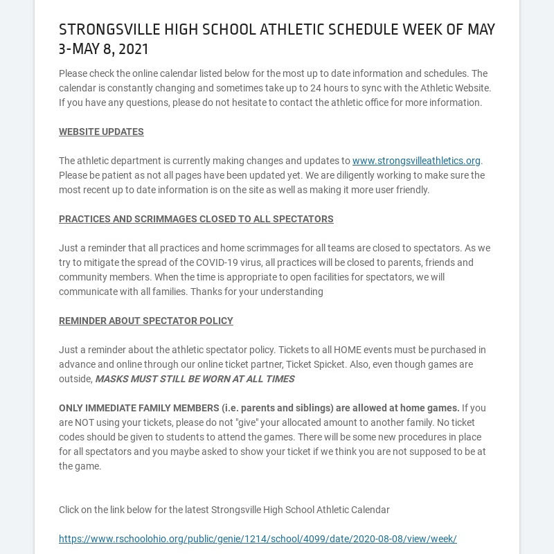 STRONGSVILLE HIGH SCHOOL ATHLETIC SCHEDULE WEEK OF MAY 3-MAY 8, 2021 Please check the online...