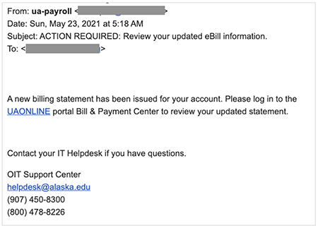 Phishing email sent from a UA account directing users to a fake UAONLINE site