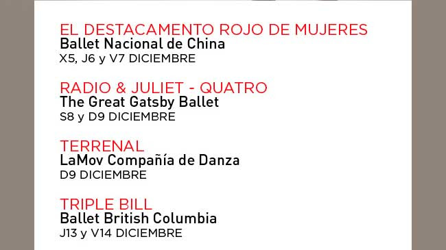 El Destacamento Rojo de Mujeres. Radio & Juliet - Quatro.///Terrenal. LaMov Compañía de danza. 9 Diciembre/// Triple Bill. Ballet British Columbia. 13 y 14 Diciembre