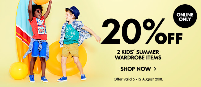 20% off 2 kids' summer wardrobe items