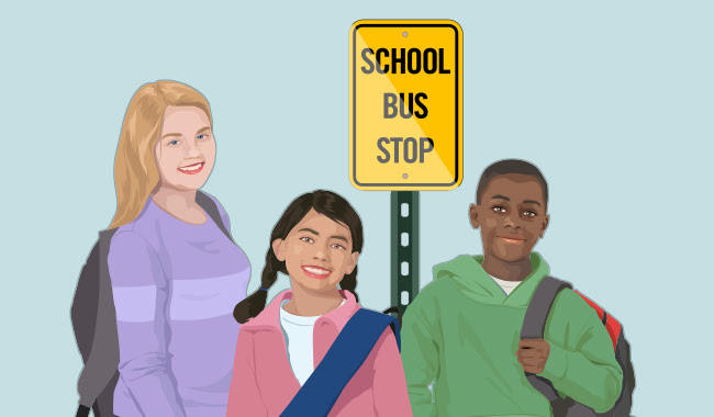 Graphic of students at bus stop