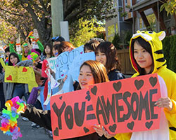 Students cheer on race participants