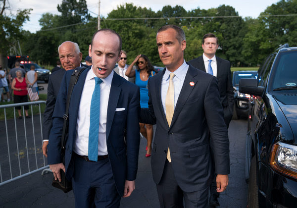 "Corey Lewandowski, right, President Trump's first campaign manager, is an author of ""Let Trump Be Trump."""
