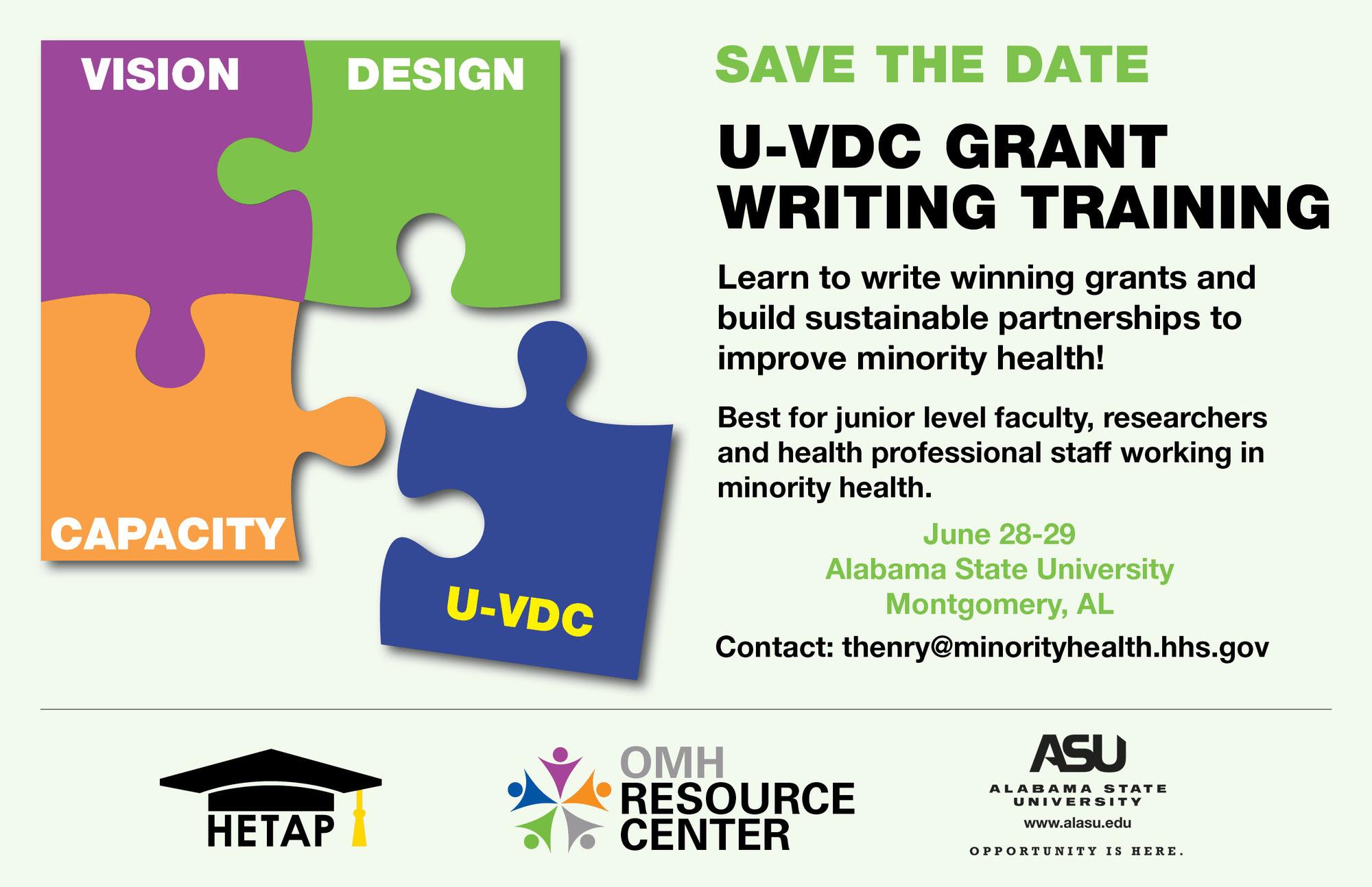 U-VDC Grant Writing Training June 28-29