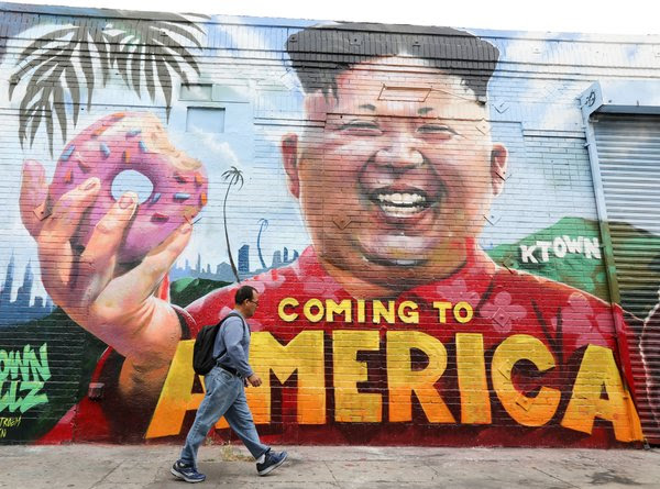 A mural of the North Korean leader Kim Jong-un in the Koreatown neighborhood of Los Angeles.