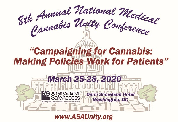 Text over an illustration of the US Capitol Dome. It says: 8th Annual National Medical Cannabis Unity Conference, \