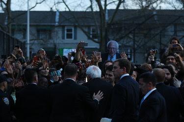 Senator Bernie Sanders spoke at a rally in St. Mary's Park in the Bronx on Thursday.