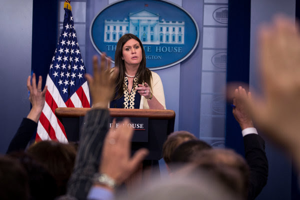"""Sarah Huckabee Sanders, the White House deputy press secretary, briefing reporters on Wednesday. """"I don't think there's a necessary need"""" for the Justice Department to appoint a special prosecutor, she said."""