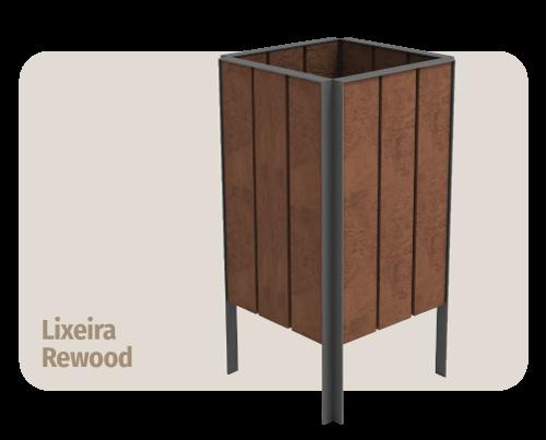 lixeira sem tampa de madeira plástica rewood  que não estraga com sol ou chuva