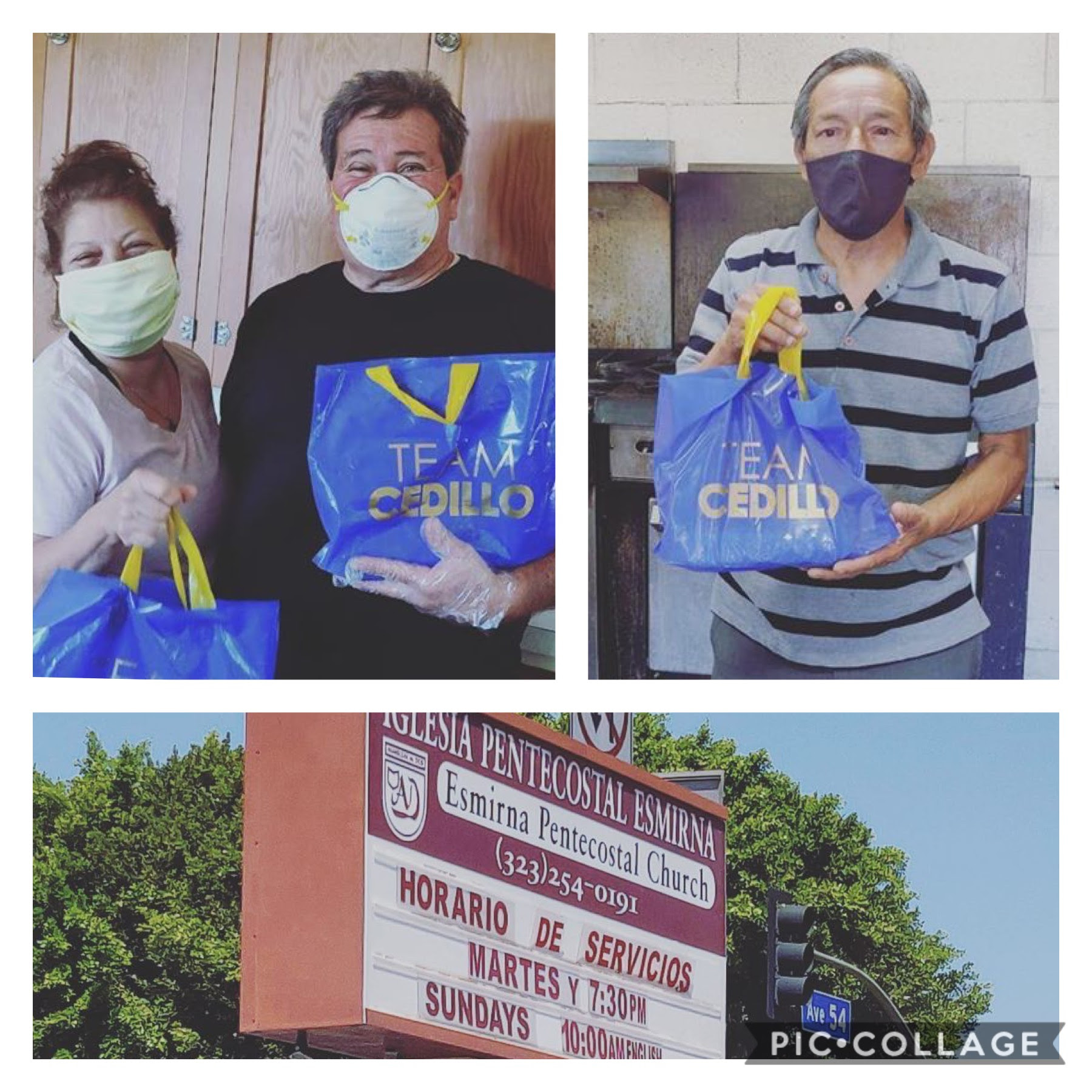 St. Vincent food bank and Iglesia Pentacastal food bank in Highland Park received meals from Chico's Restaurant 5-22-2020 COLLAGE