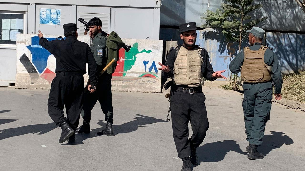 Afghan police arrive at the site of an attack at Kabul University in Kabul, Afghanistan, Nov. 2, 2020.