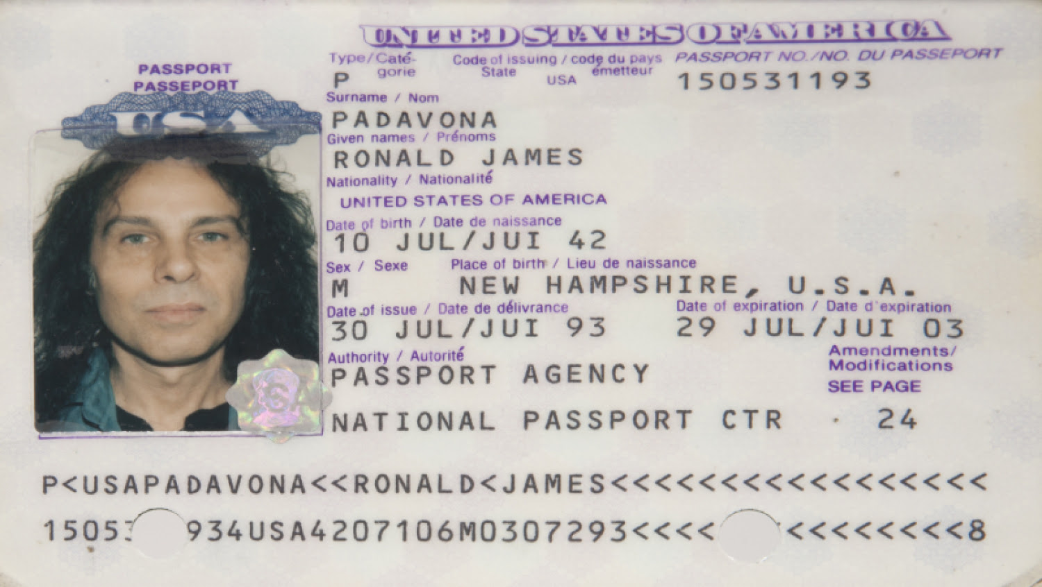 RONNIE JAMES DIO PASSPORT