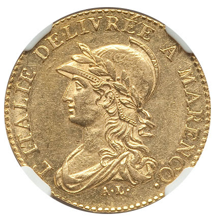 Italy: Piedmont. Subalpine Republic gold 20 Francs L'An 9 (1800/1801) MS62 NGC