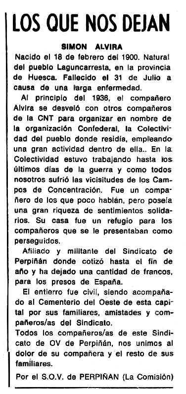 """Necrològica de Simón Alvira apareguda en el periòdic tolosà """"Cenit"""" del 24 de novembre de 1987"""