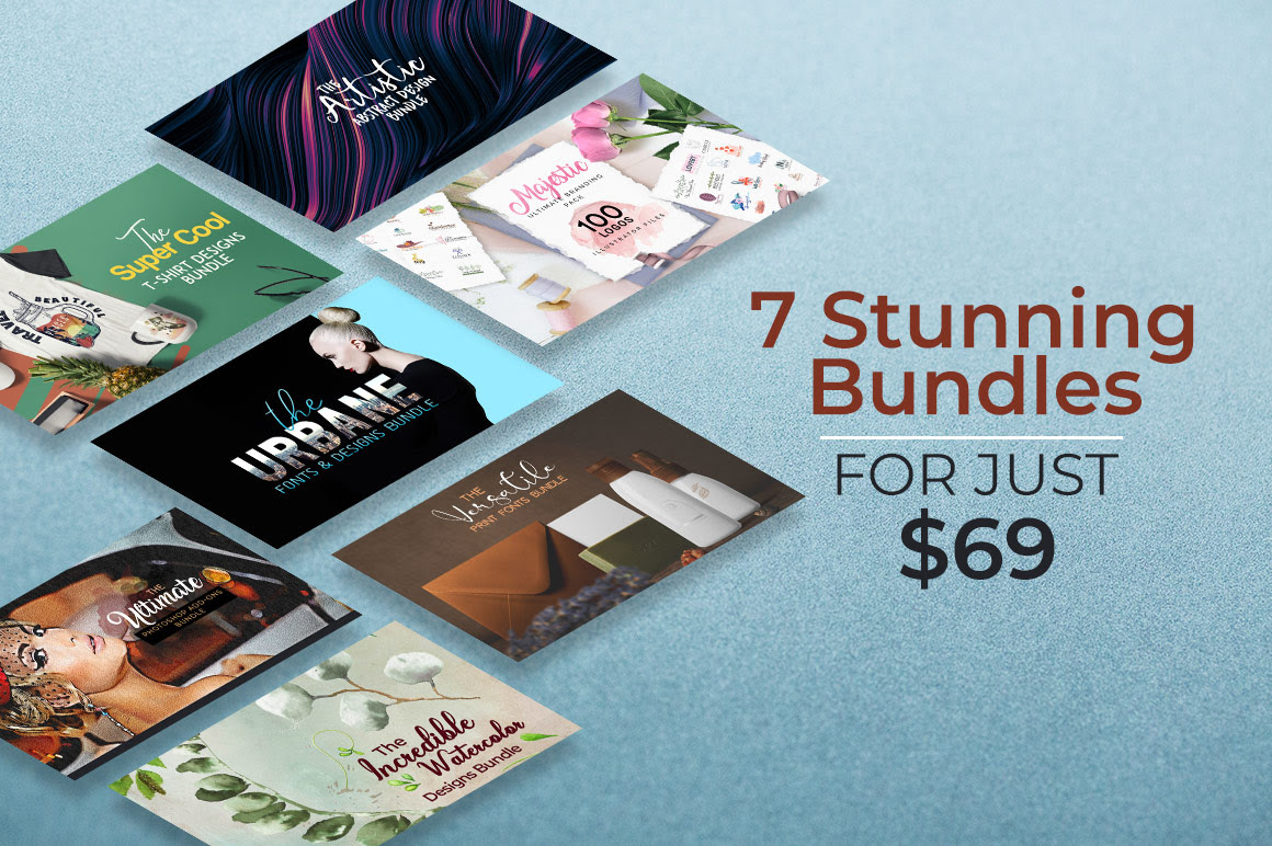 Entire Pixelo shop bundle that contains 7 amazing design bundles