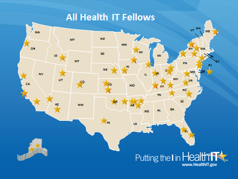 United States map showing Health IT fellows