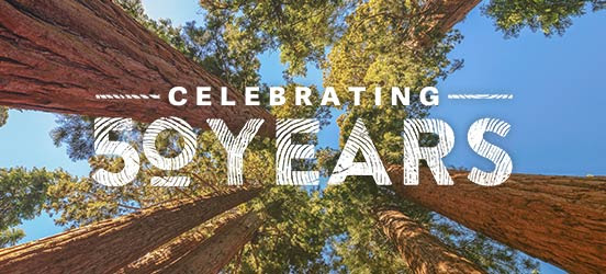 celebrating national park foundation 50th anniversary, image of sequoia trees in the background