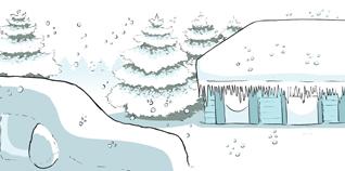 Una casa y un auto cubiertos de nieve.