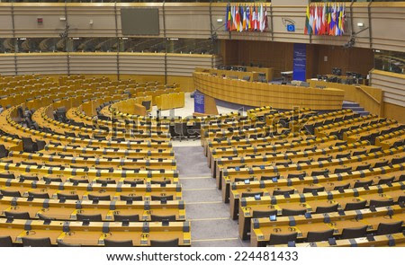 BRUSSELS, BELGIUM - JULY 24, 2014: The European Parliament hemicycle (debating chamber) - stock photo