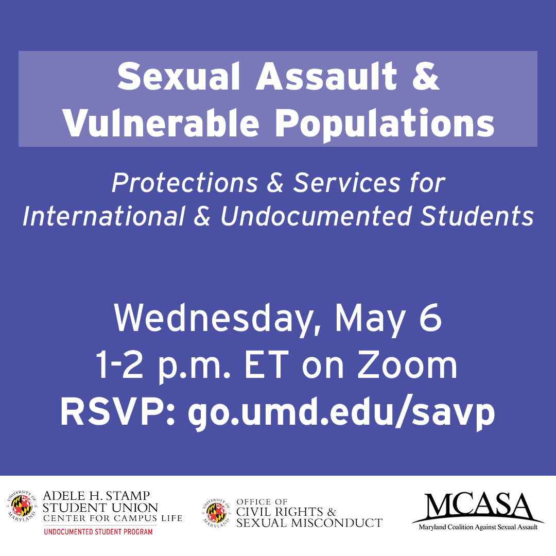 A graphic advertising the Sexual Assault and Vulnerable Populations event