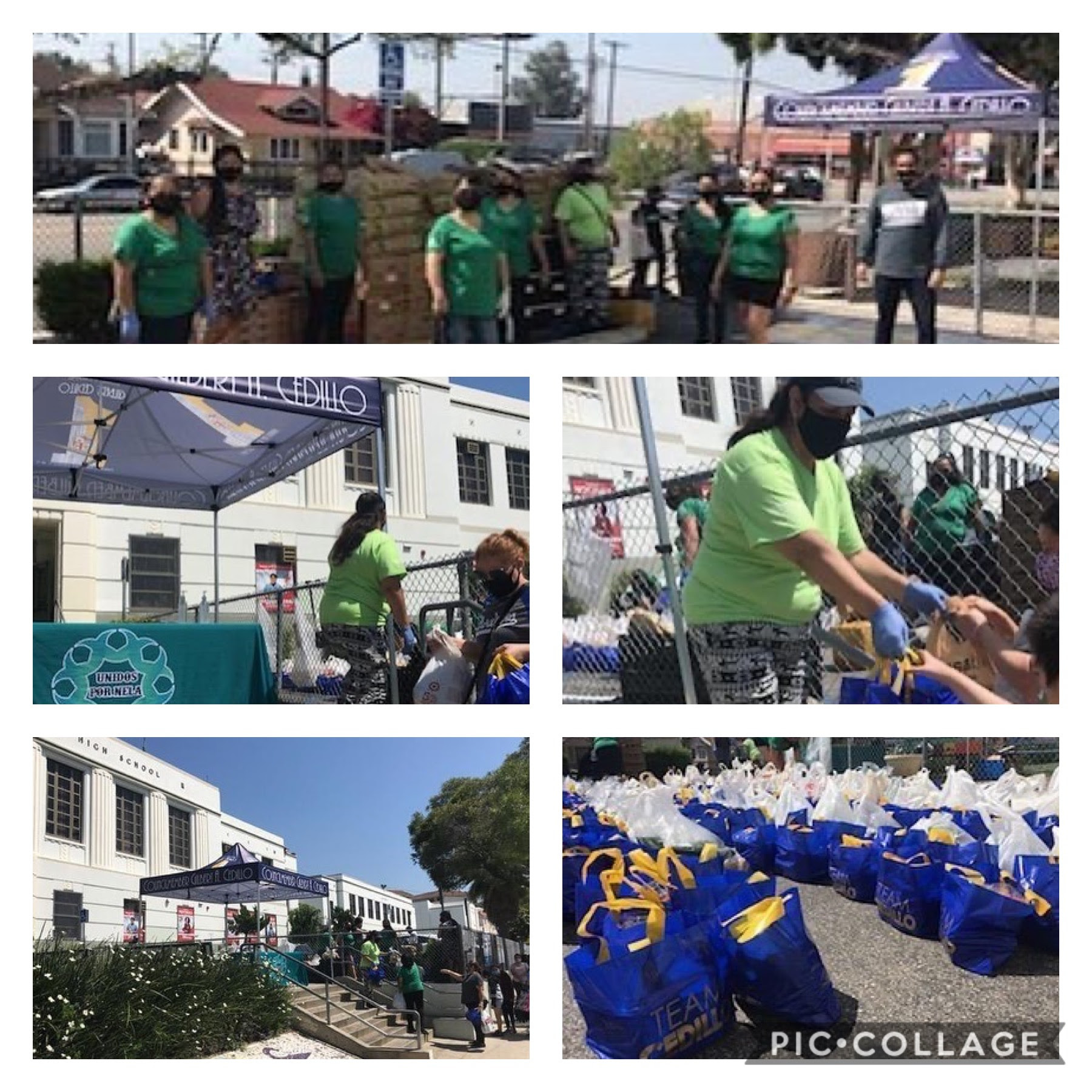 Unidos por NELA distributed produce at Florence Nightingale Middle School in Cypress Park 5-27-2020 COLLAGE