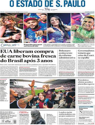 Capa O Estado de Sao Paulo