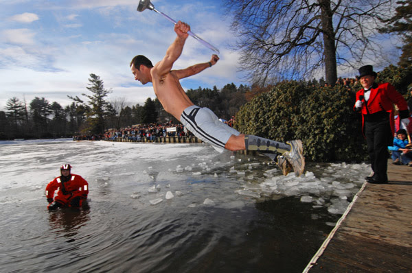 Man takes the plunge into icy Chetola Lake at WinterFest