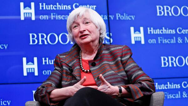Janet Yellen on stage at a Brookings event