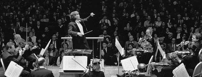 [Seiji Ozawa with Malcolm Lowe sitting concertmaster]