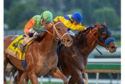 Sparky Ville, outside, just gets by Dessman to win the San Vicente Stakes at Santa Anita Park