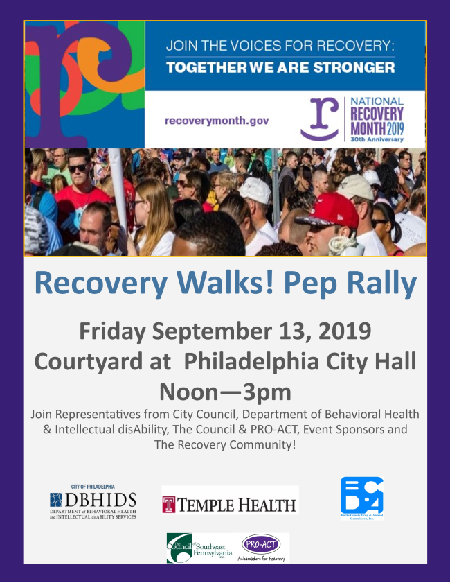 Please join us on Friday for our Recovery Walks! 2019 Pep Rally!