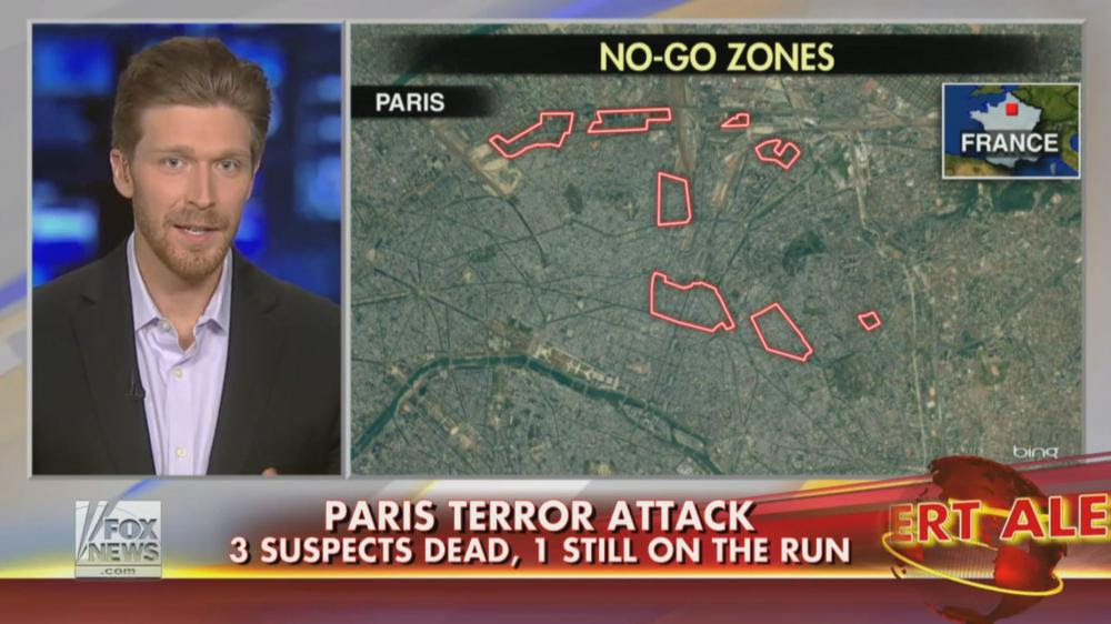 """L'""""expert"""" Nolan Petersen intervient, le 10 janvier 2015, sur la chaîne américaine Fox News, où il évoque l'existence de zones interdites aux non-musulmans en plein Paris."""