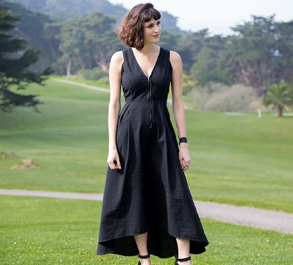 New Black Seersucker Dress