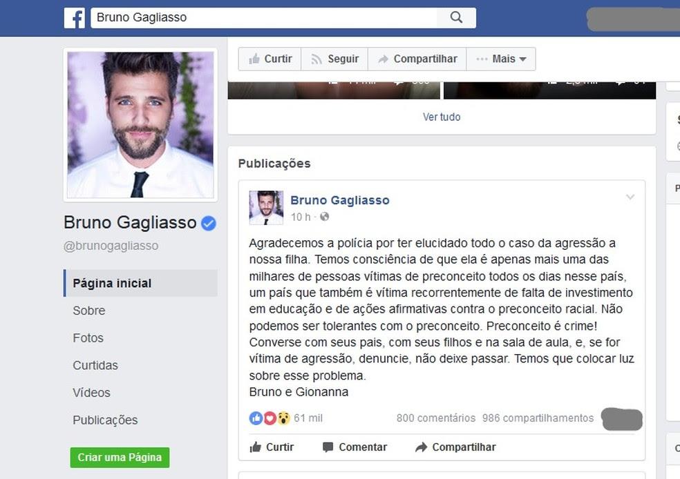 Bruno Gagliasso fez postagem em uma rede social (Foto: Reprodução / Facebook)