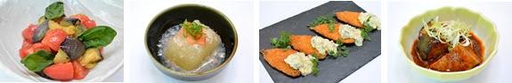 写真(左から)「賀茂なすとトマトのイタリアンマリネ」、 「冬瓜ズワイガニあんかけ」、 「鰯フライ しば漬けタルタルソース」、 「賀茂なすのマーボー風」