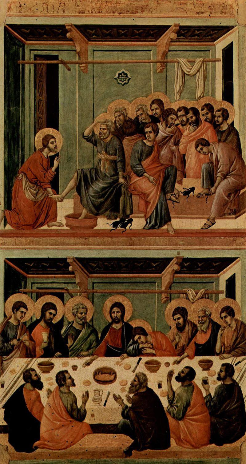 """لوحات """"العشاء الأخير"""".. فنانون جسدوا الليلة الأخيرة للمسيح غير دافنشى الأحد، 257568-800px-Duccio_di_Buoninsegna_029"""