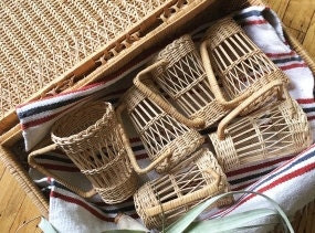 Tall Vintage Wicker Rattan Cup Insert Covers - Set of 6