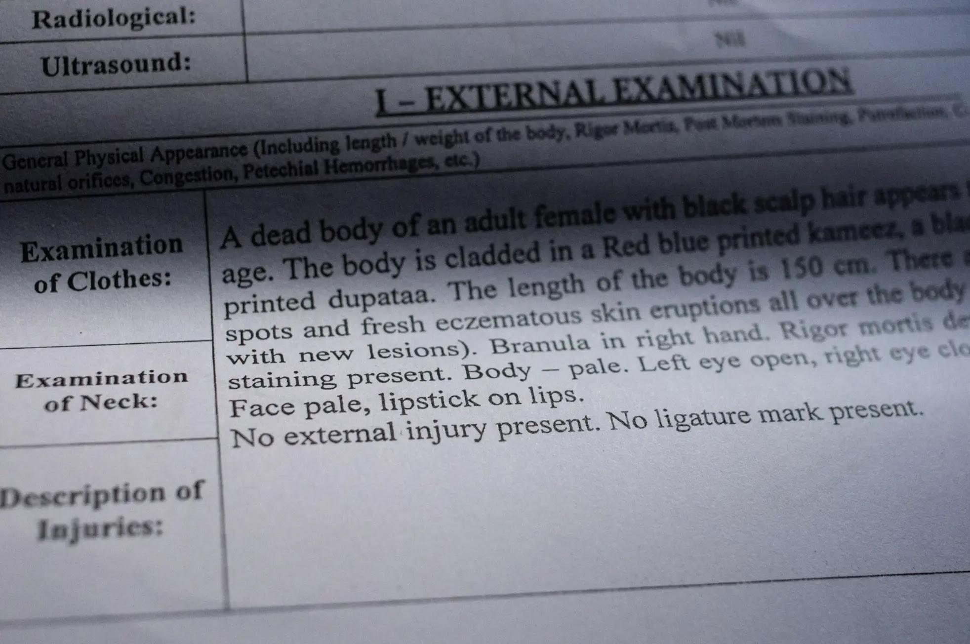 Image of postmortem report.