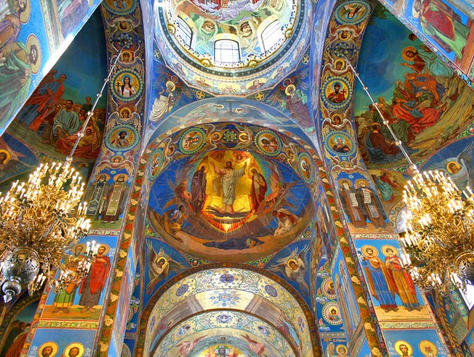 The                                                           church's                                                           interior is no                                                           less colorful,                                                           and many                                                           visitors come                                                           primarily to                                                           see the                                                           80,000-some                                                           square feet of                                                             mosaics.